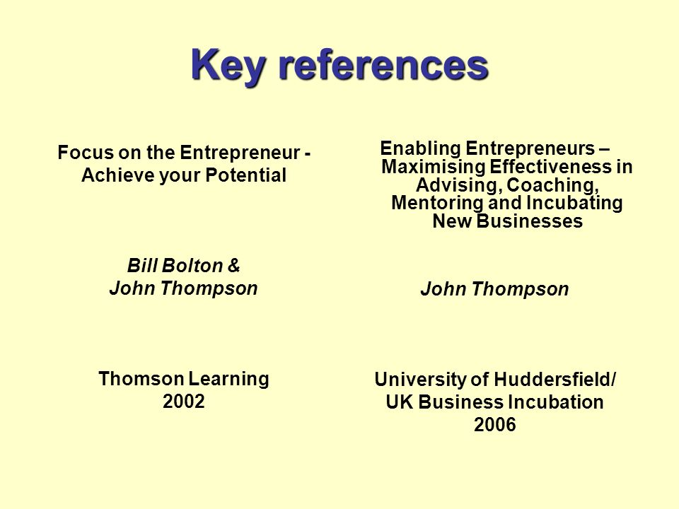 Key references Focus on the Entrepreneur -