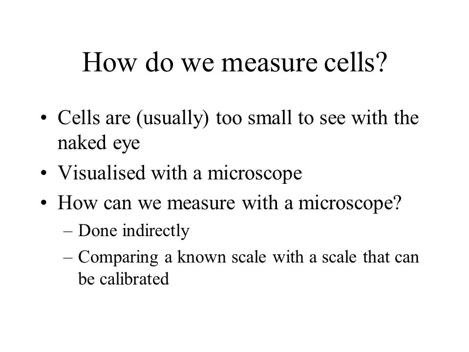 How do we measure cells Cells are (usually) too small to see with the naked eye. Visualised with a microscope.