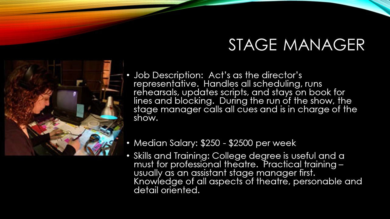 the role and responsibilities of the stage manager Duties the asm reports directly to the stage manager, and is an ancillary assigned to aid in any way necessary to facilitate the smooth run of rehearsals and performancesthis means that the specific responsibilities will depend solely on the needs of the production and staff the assistant stage manager is primarily tasked with taking notes.