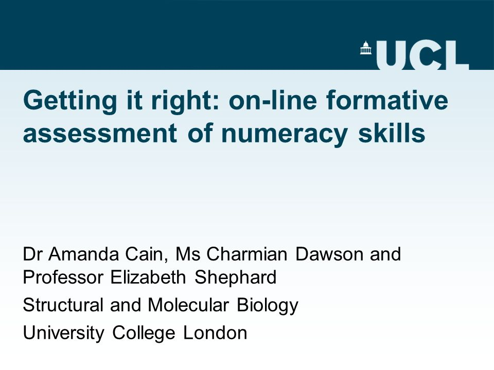 Getting it right: on-line formative assessment of numeracy skills