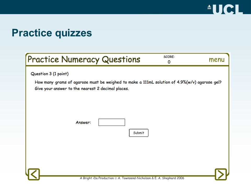 Practice quizzes Series of questions with randomised values