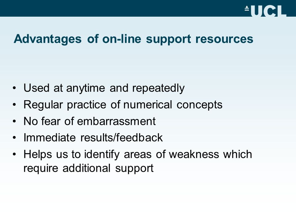 Advantages of on-line support resources