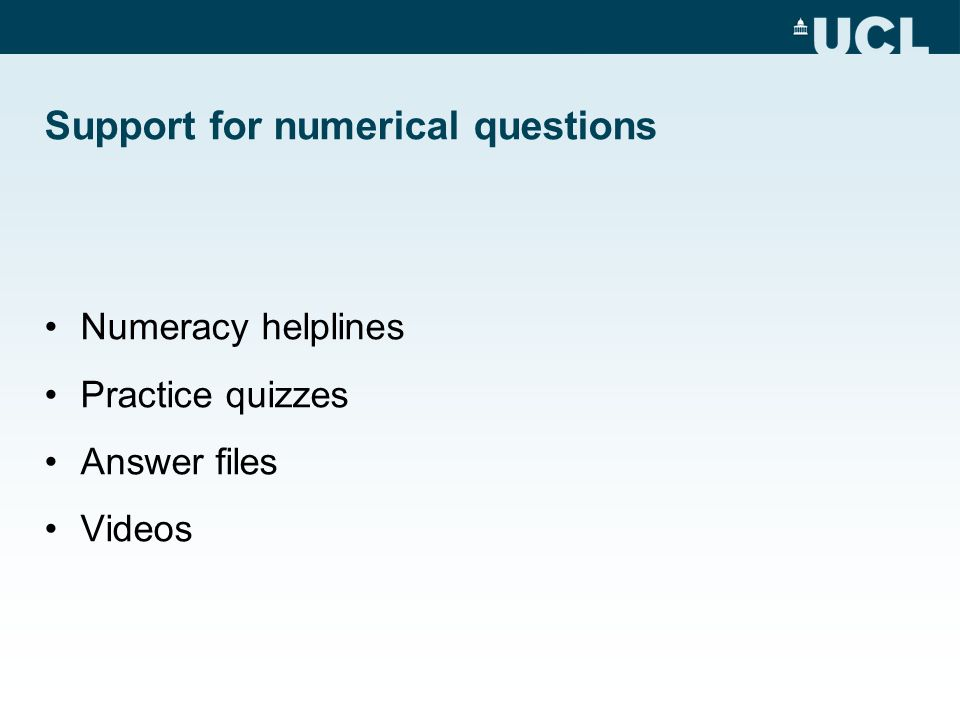 Support for numerical questions