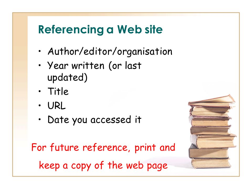 Referencing a Web site Author/editor/organisation