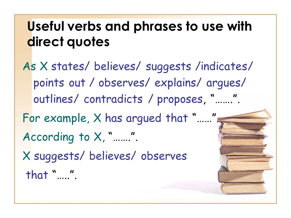 Useful verbs and phrases to use with direct quotes