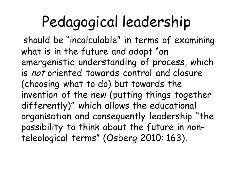 Pedagogical leadership