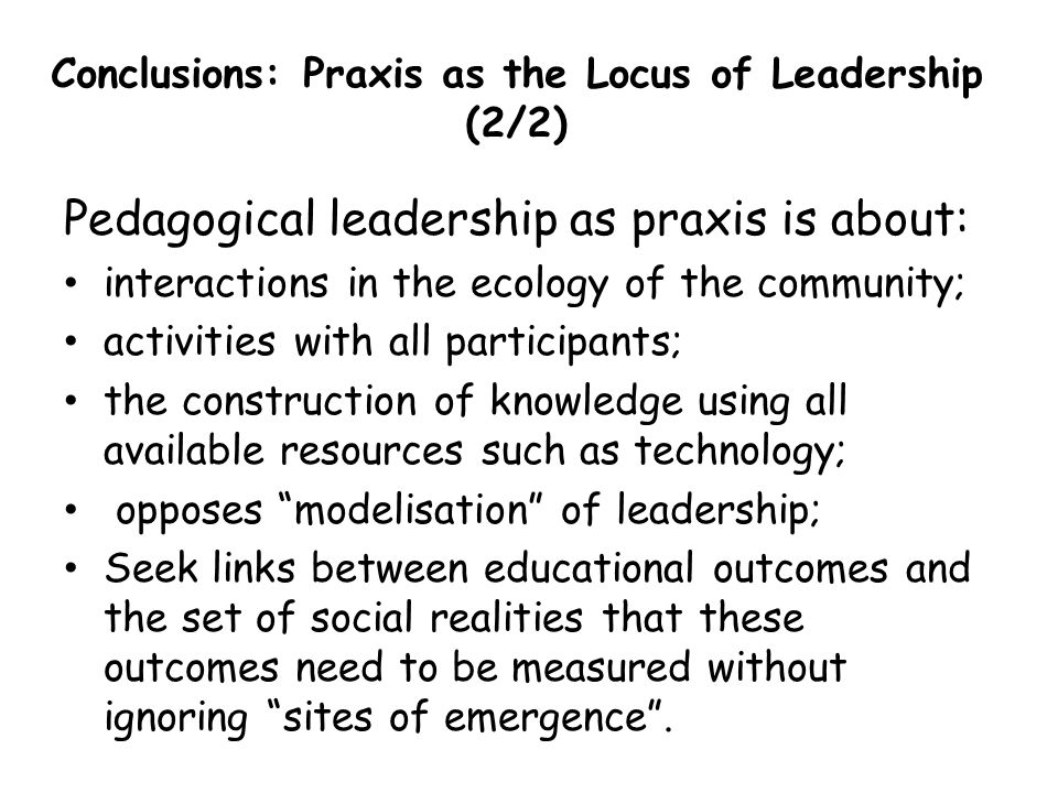 Conclusions: Praxis as the Locus of Leadership (2/2)