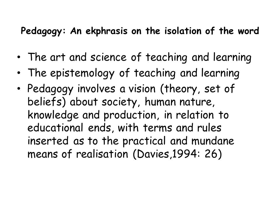 Pedagogy: An ekphrasis on the isolation of the word
