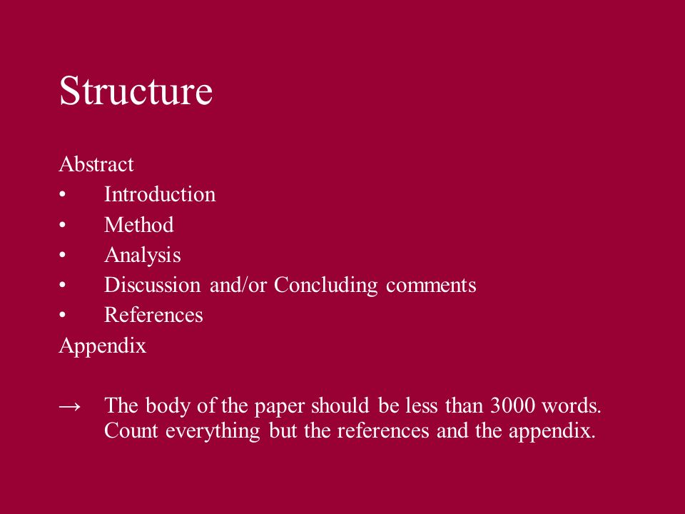 Structure Abstract Introduction Method Analysis