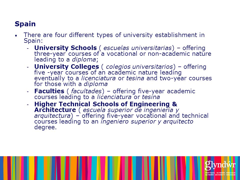 Spain There are four different types of university establishment in Spain: