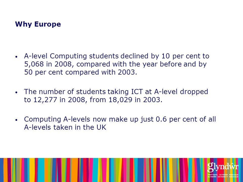Why Europe A-level Computing students declined by 10 per cent to 5,068 in 2008, compared with the year before and by 50 per cent compared with 2003.
