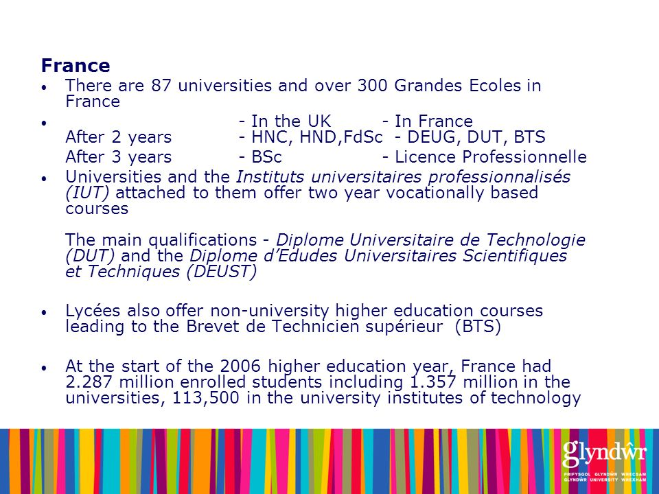 France There are 87 universities and over 300 Grandes Ecoles in France