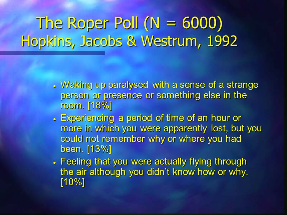 The Roper Poll (N = 6000) Hopkins, Jacobs & Westrum, 1992