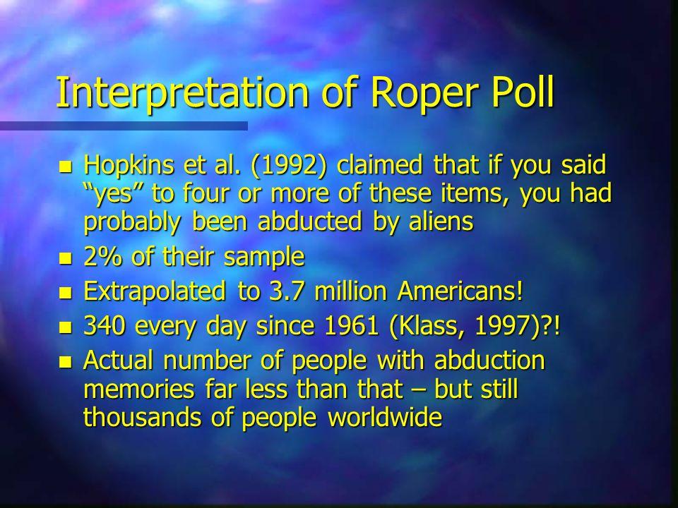 Interpretation of Roper Poll