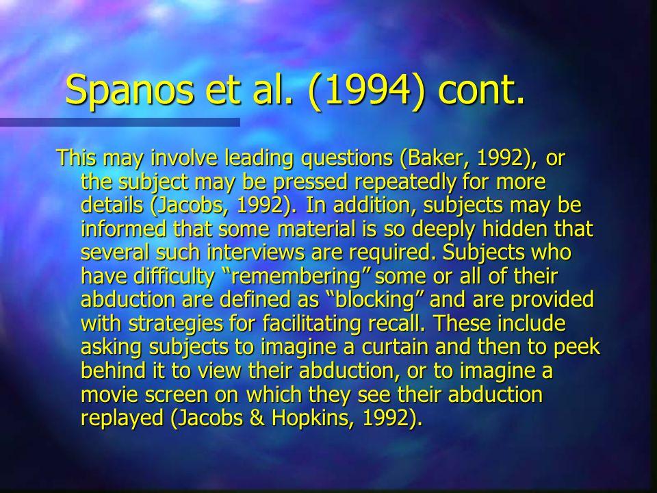 Spanos et al. (1994) cont.