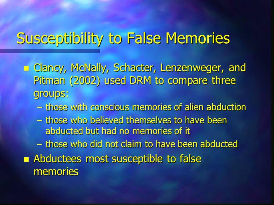 Susceptibility to False Memories