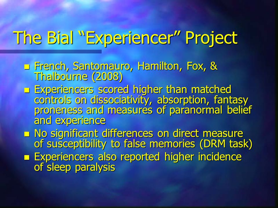 The Bial Experiencer Project