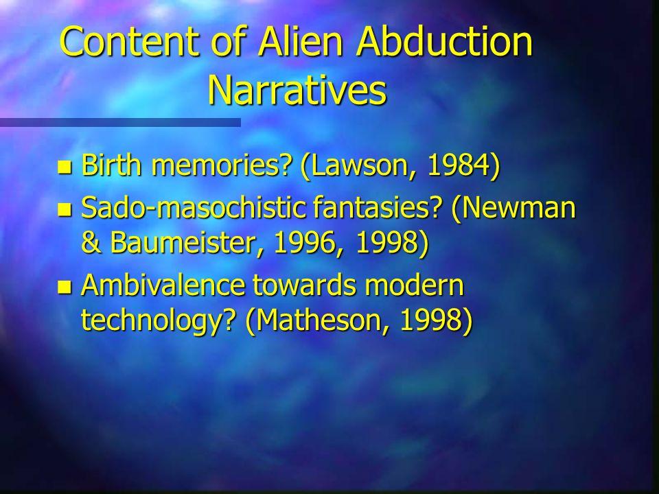 Content of Alien Abduction Narratives