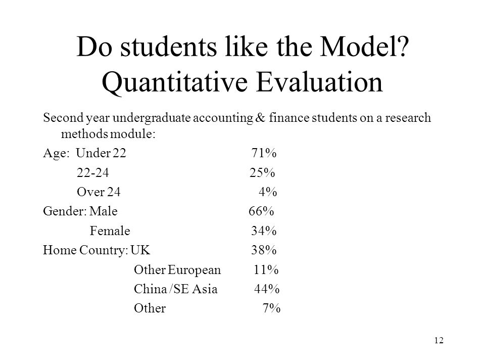 Do students like the Model Quantitative Evaluation