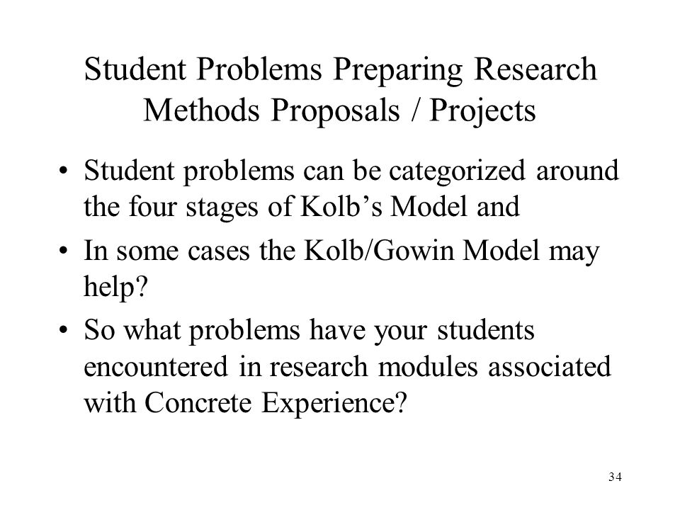 Student Problems Preparing Research Methods Proposals / Projects