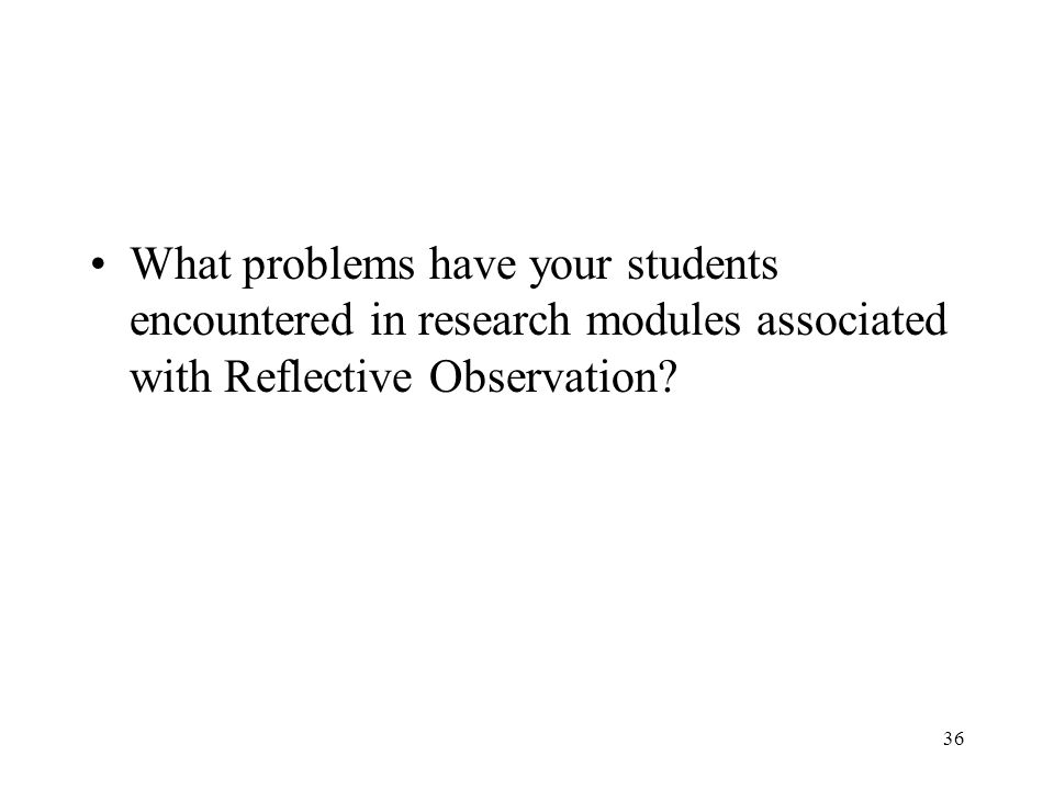 What problems have your students encountered in research modules associated with Reflective Observation