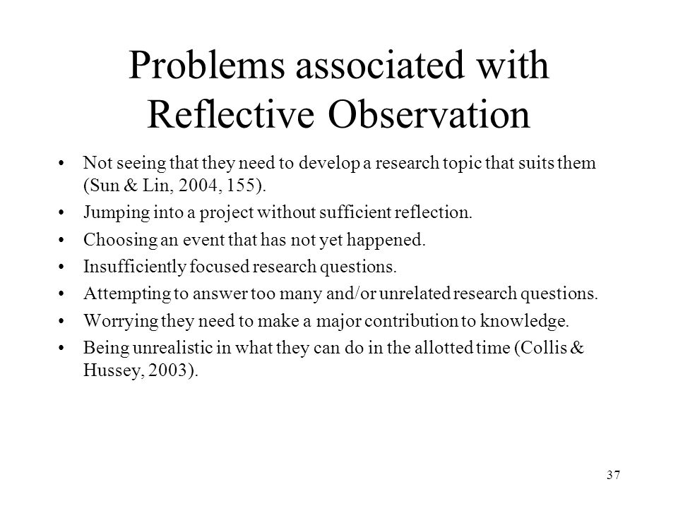 Problems associated with Reflective Observation