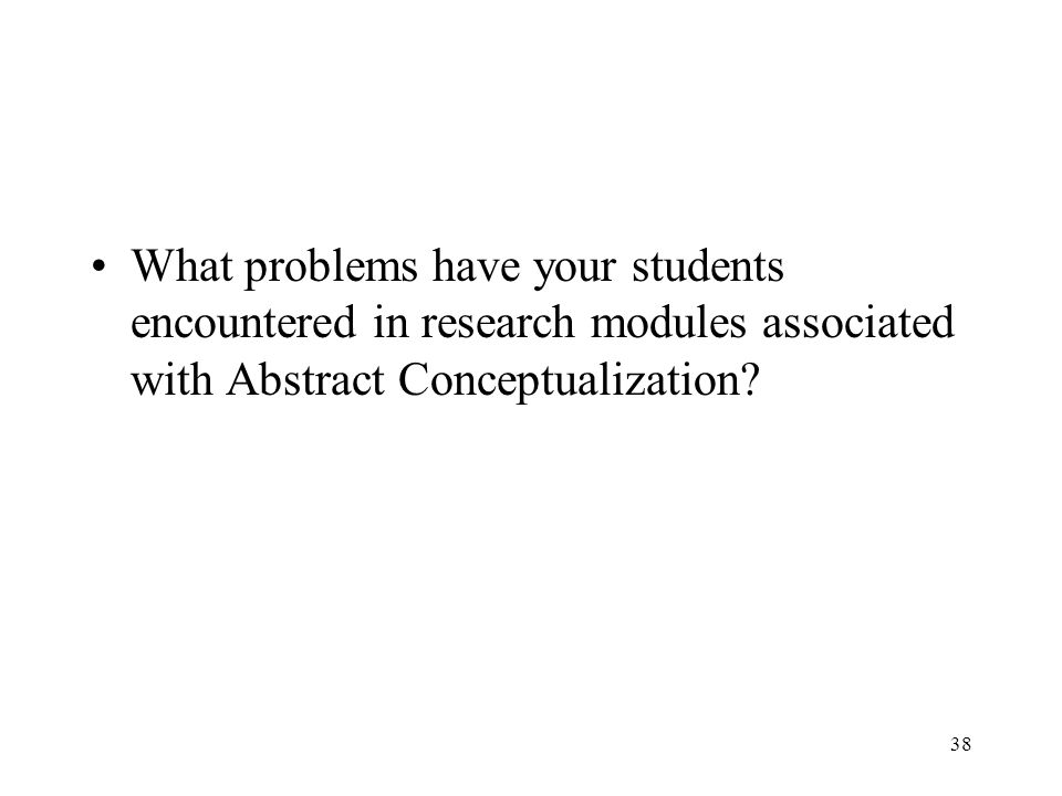 What problems have your students encountered in research modules associated with Abstract Conceptualization