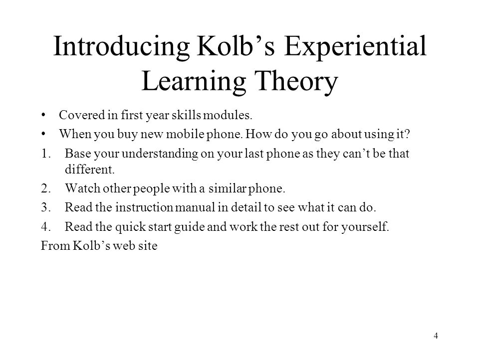 Introducing Kolb's Experiential Learning Theory