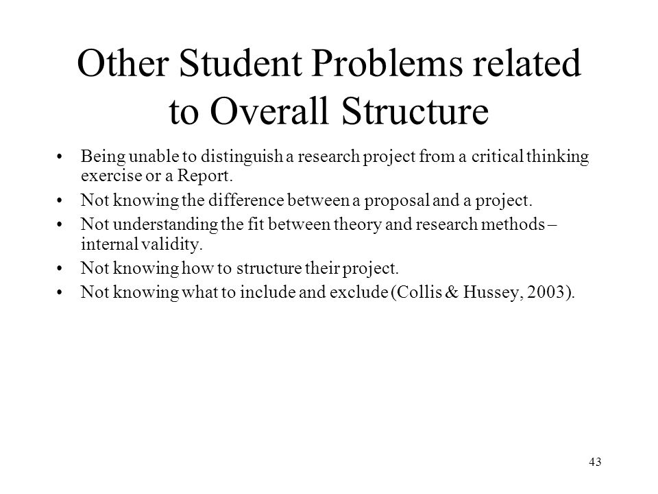 Other Student Problems related to Overall Structure