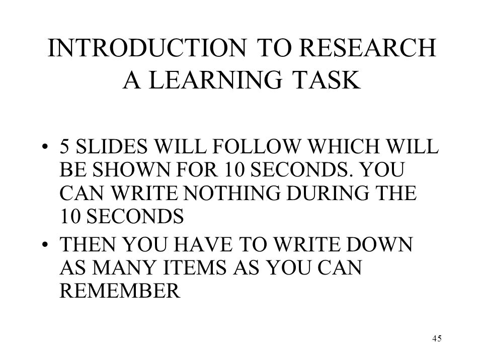 INTRODUCTION TO RESEARCH A LEARNING TASK