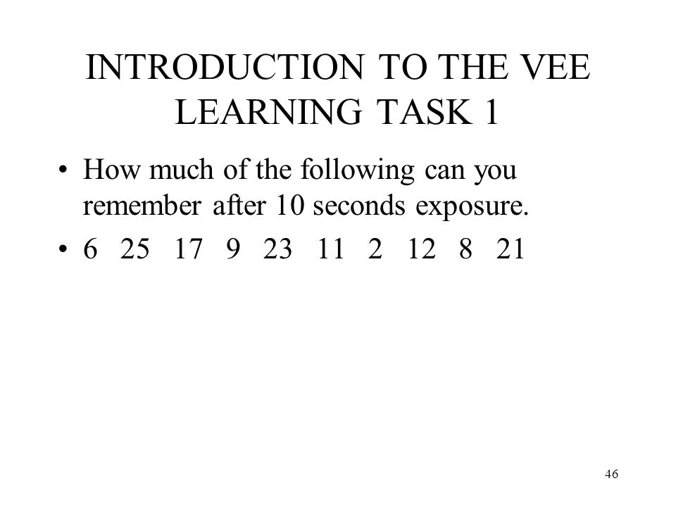 INTRODUCTION TO THE VEE LEARNING TASK 1