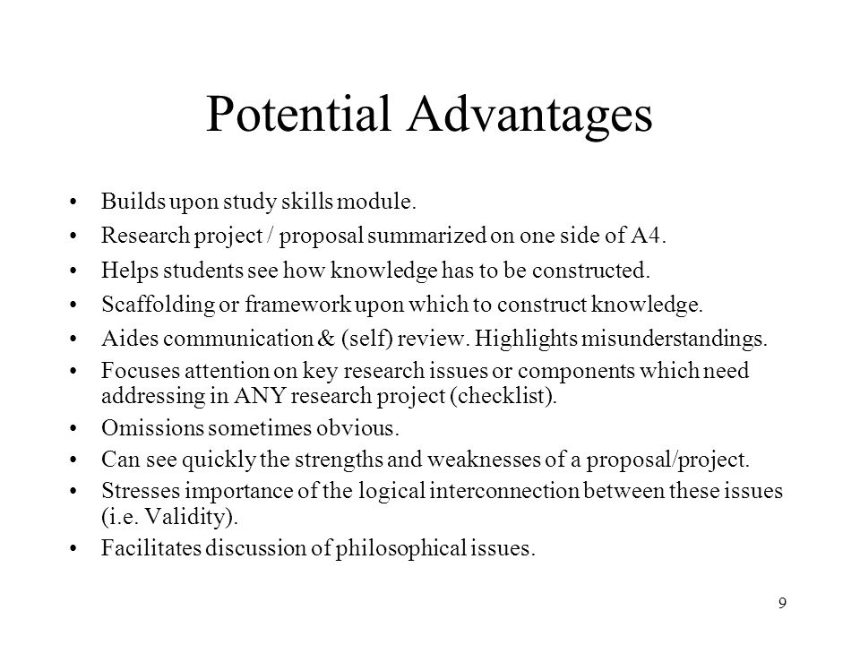 Potential Advantages Builds upon study skills module.