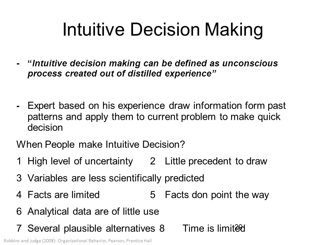 importance of intuition in decision making Ment is of the utmost importance  the com-plexity of decision making in clinical nursing prac-tice  intuition in clinical decision making.