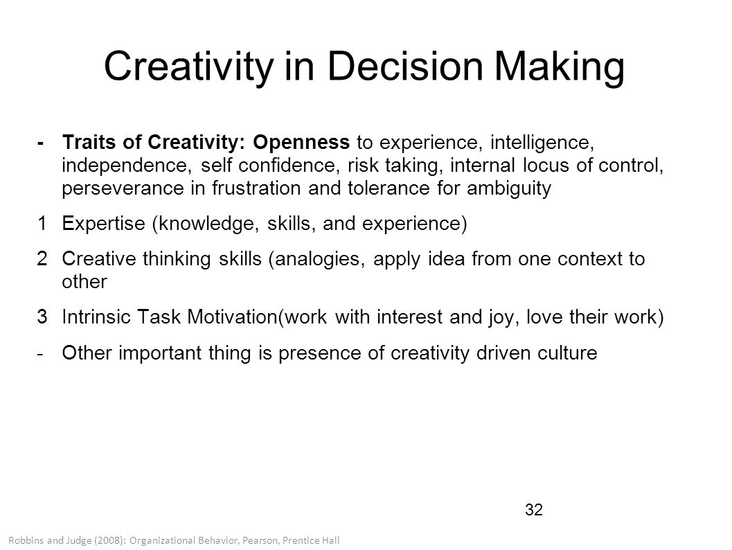 creativity and decision making Decision making, learning, creativity, and entrepreneurship presentation ideas in docslide.