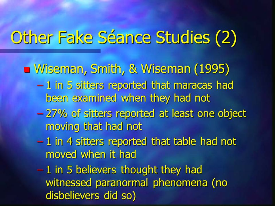 Other Fake Séance Studies (2)