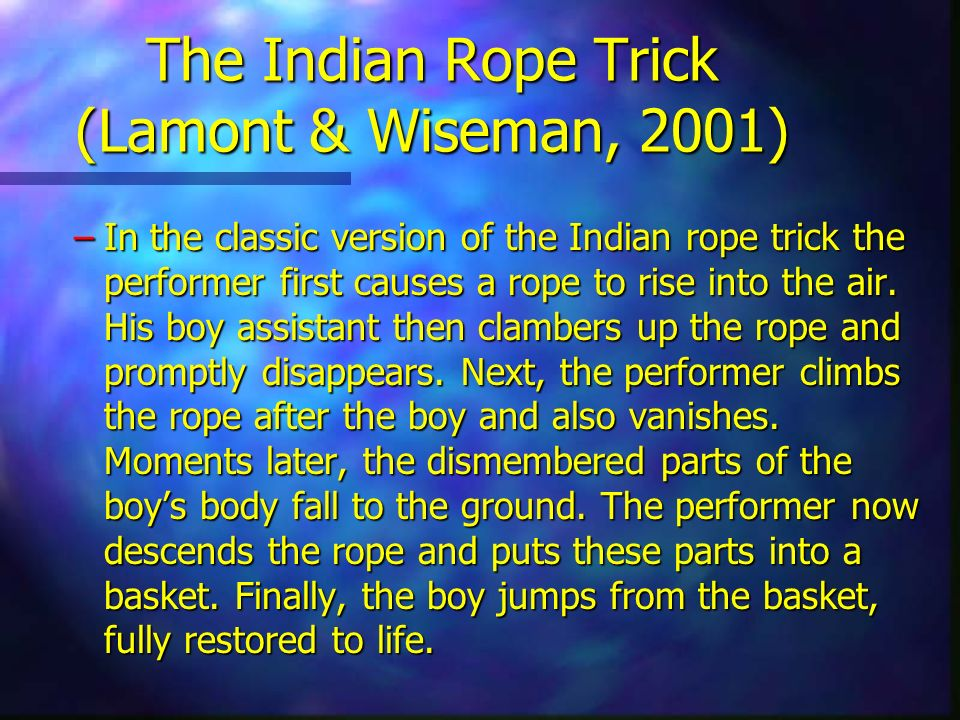 The Indian Rope Trick (Lamont & Wiseman, 2001)