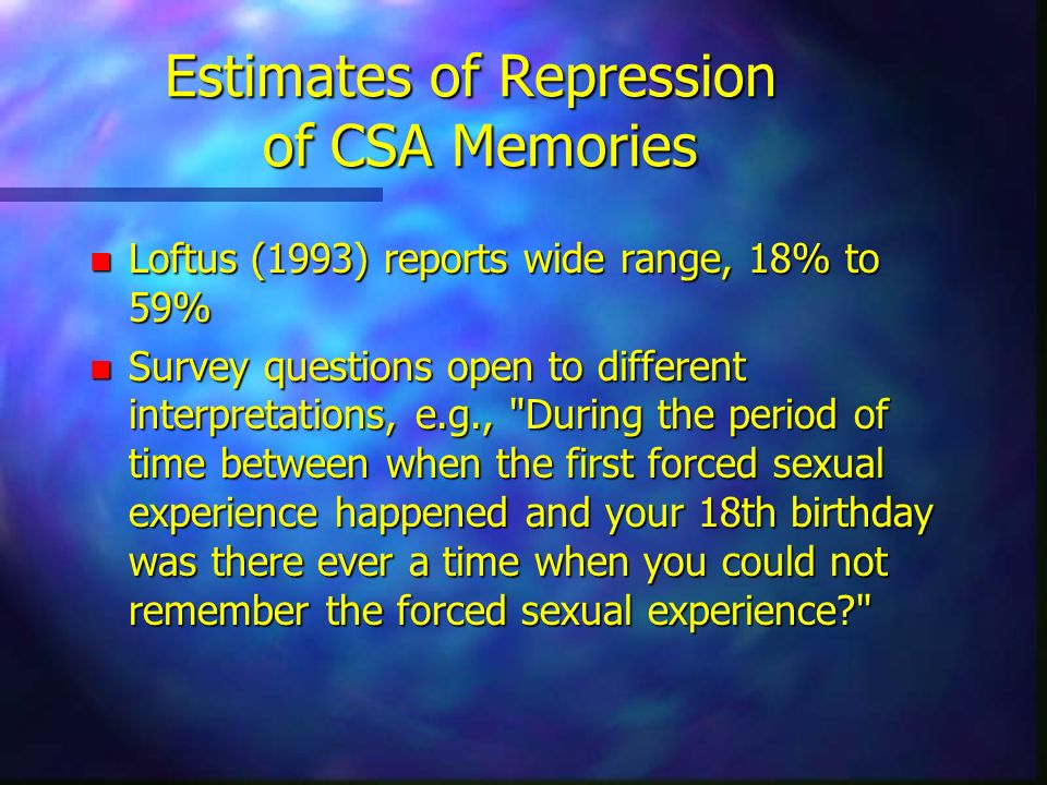 Estimates of Repression of CSA Memories