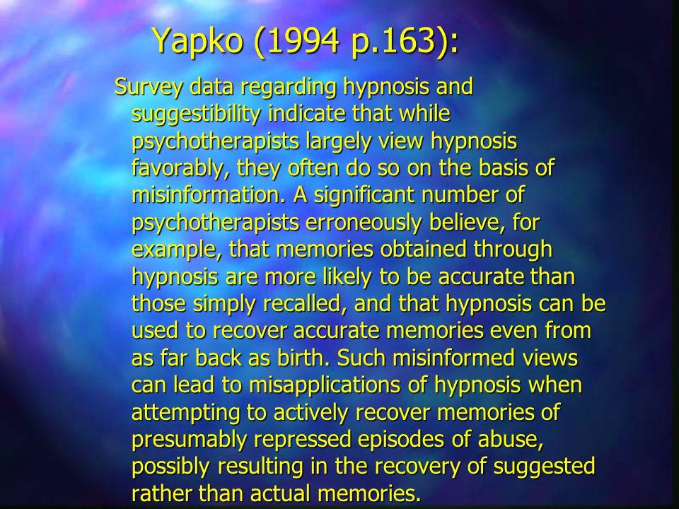 Yapko (1994 p.163):