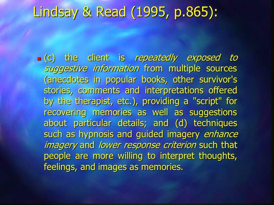 Lindsay & Read (1995, p.865):