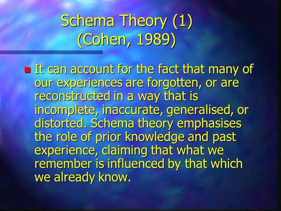 Schema Theory (1) (Cohen, 1989)