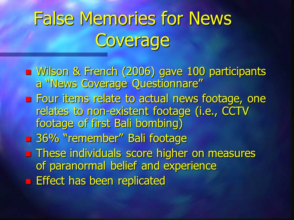False Memories for News Coverage