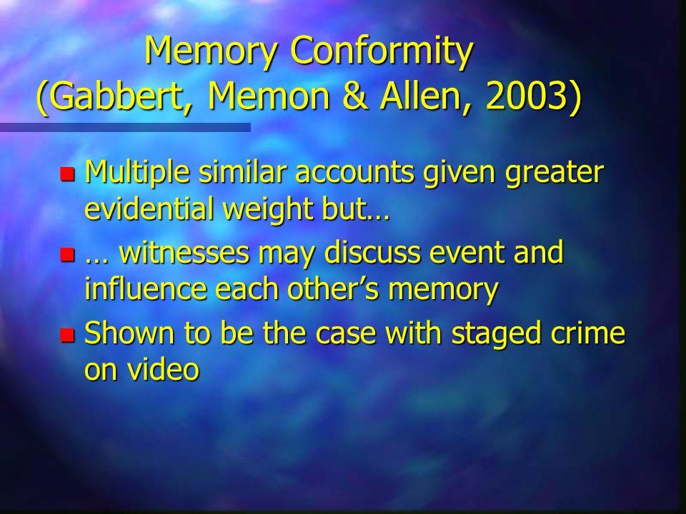 Memory Conformity (Gabbert, Memon & Allen, 2003)