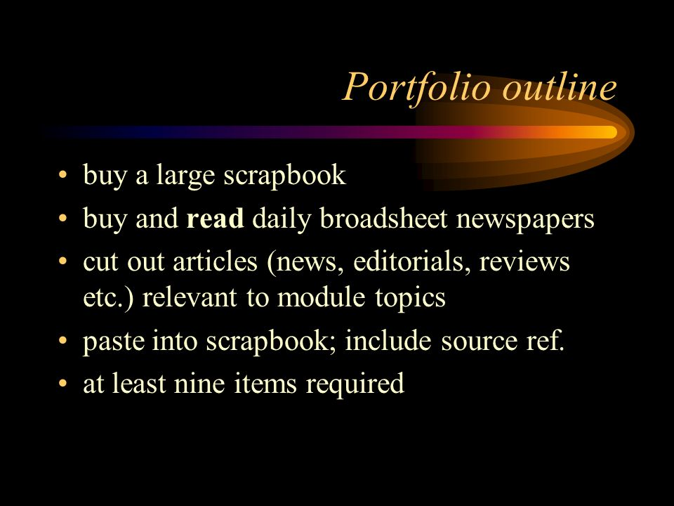 Portfolio outline buy a large scrapbook
