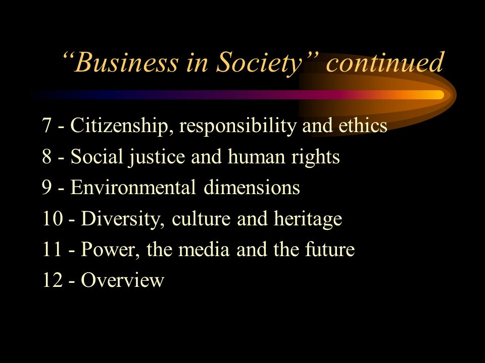Business in Society continued