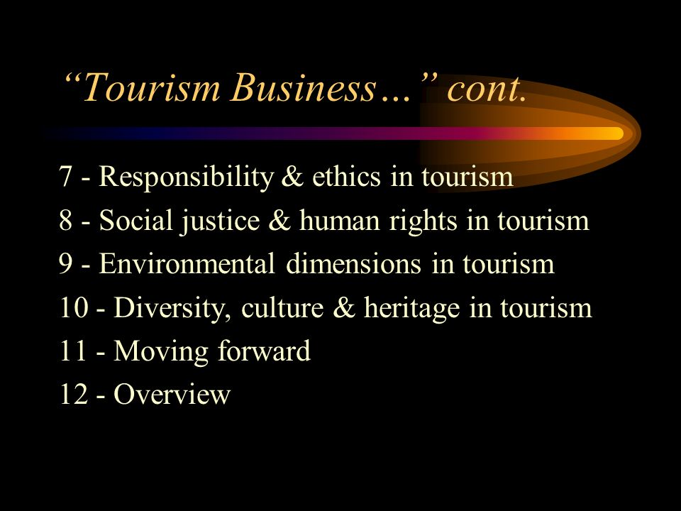 Tourism Business… cont.