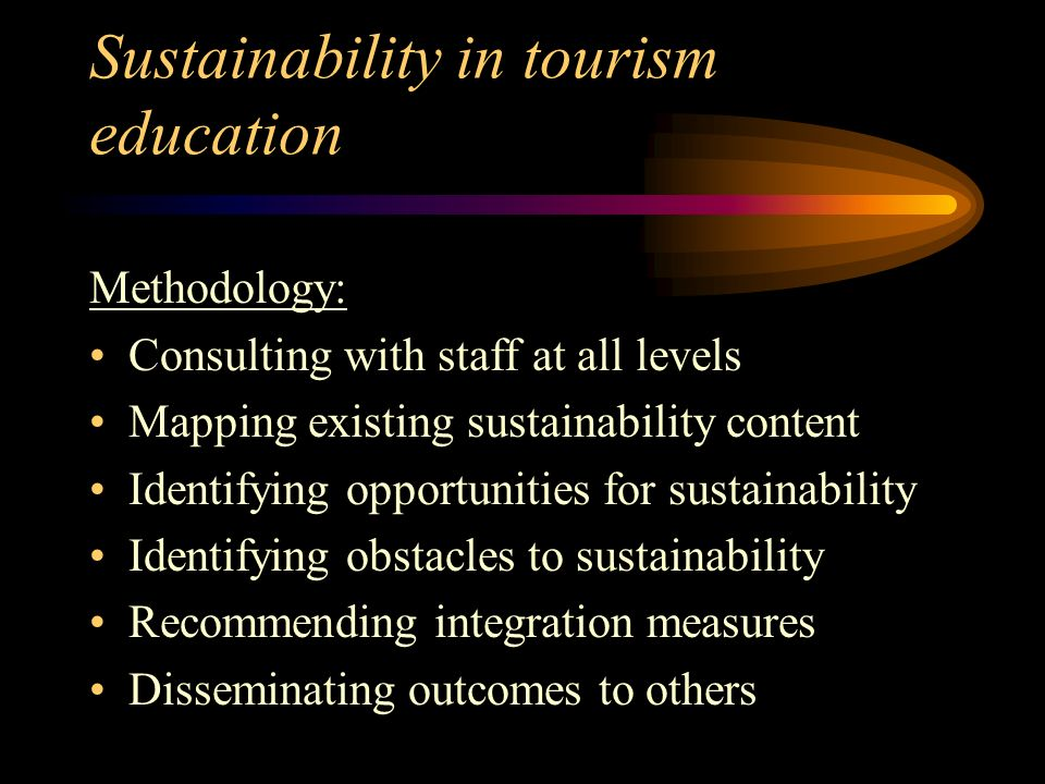 Sustainability in tourism education