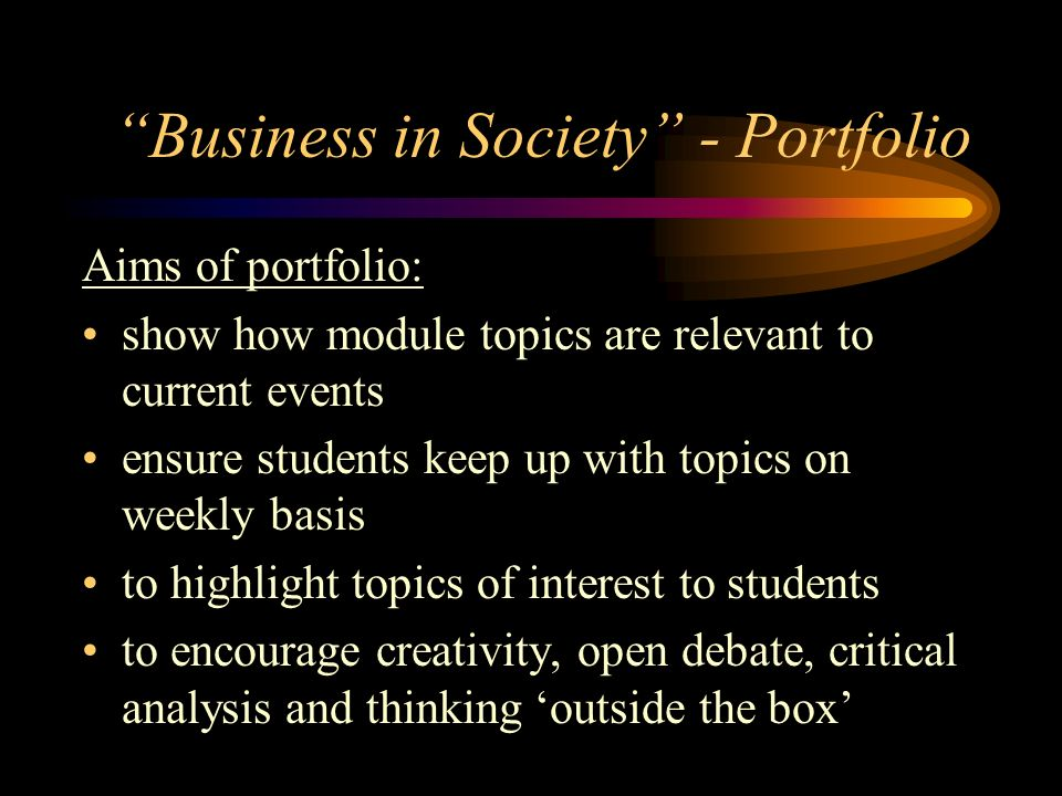Business in Society - Portfolio