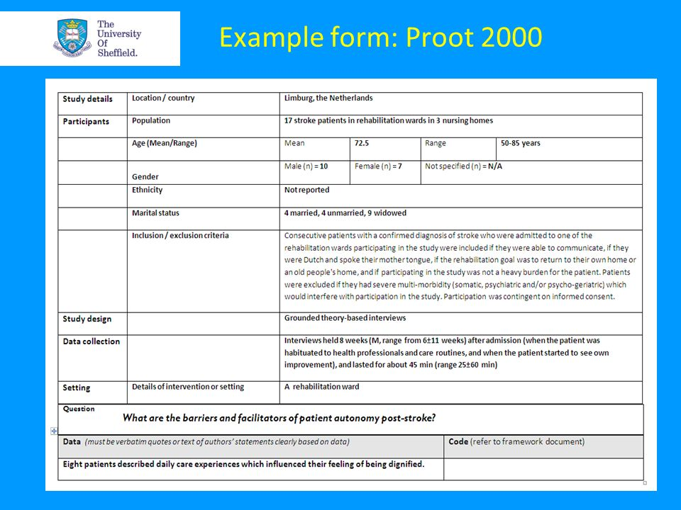 Example form: Proot 2000 Why extract these data. Same as for any review.