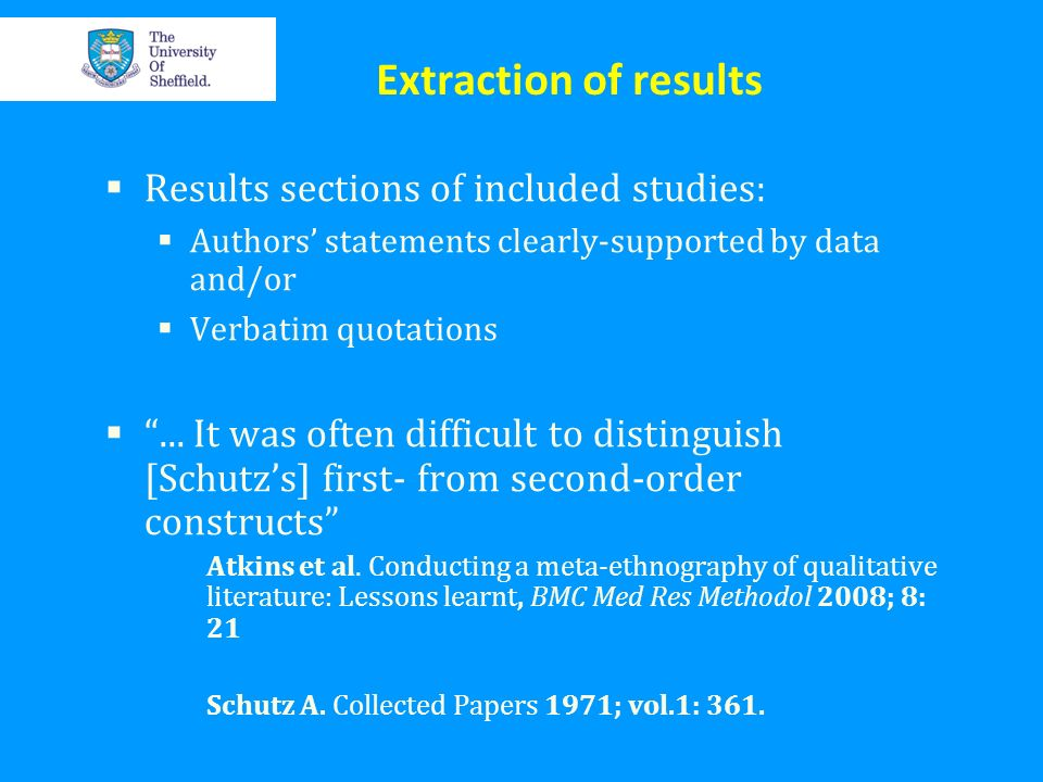 Extraction of results Results sections of included studies: