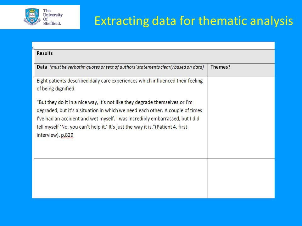 Extracting data for thematic analysis